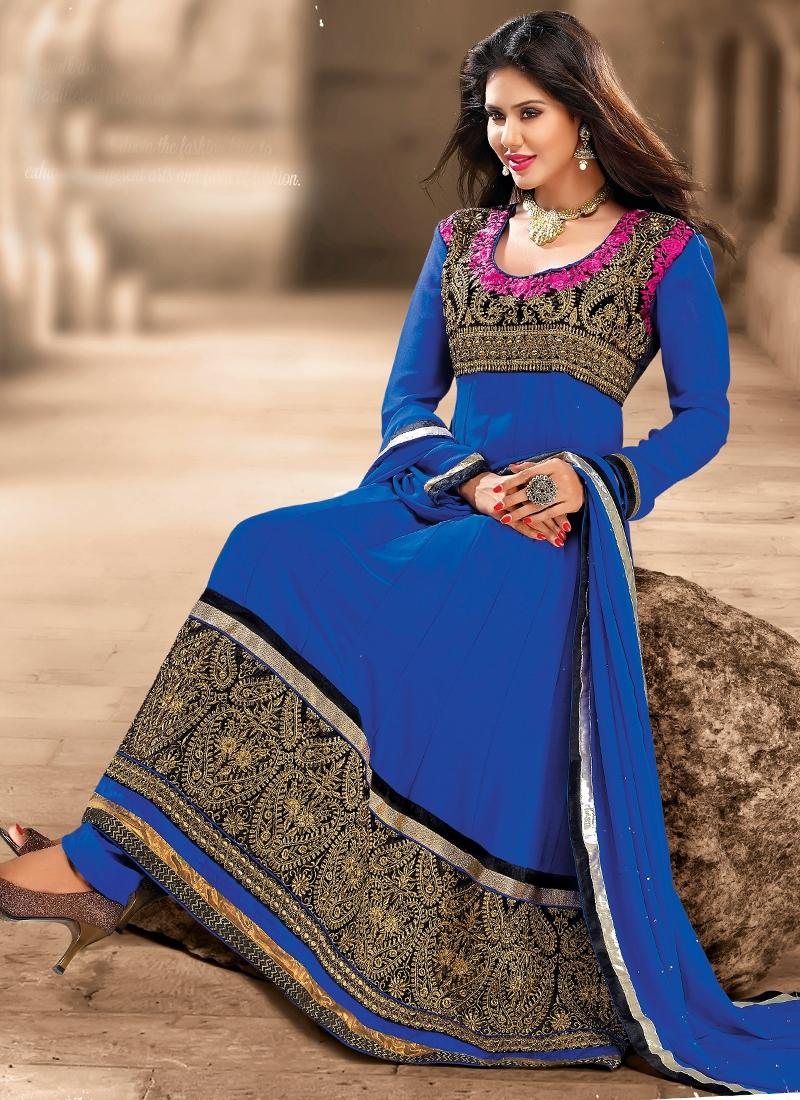 Invaluable Gold Zardosi Work Anarkali Salwar Kameez