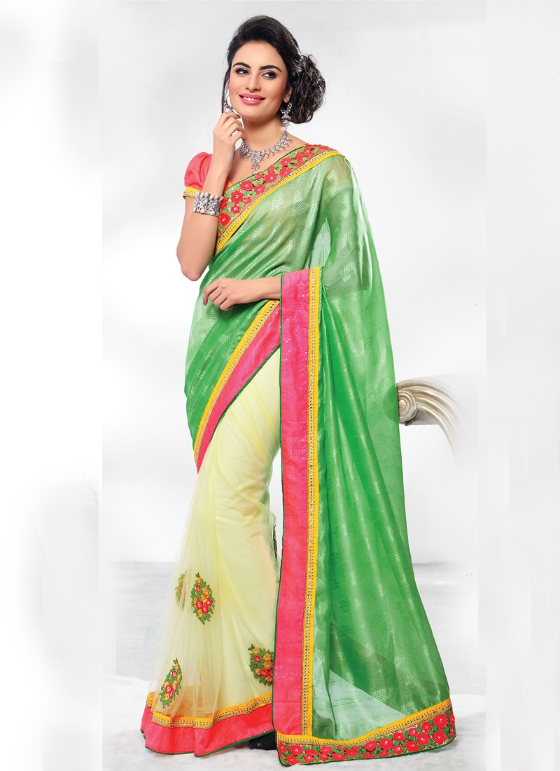 Invaluable Green And Cream Color Half N Half Saree