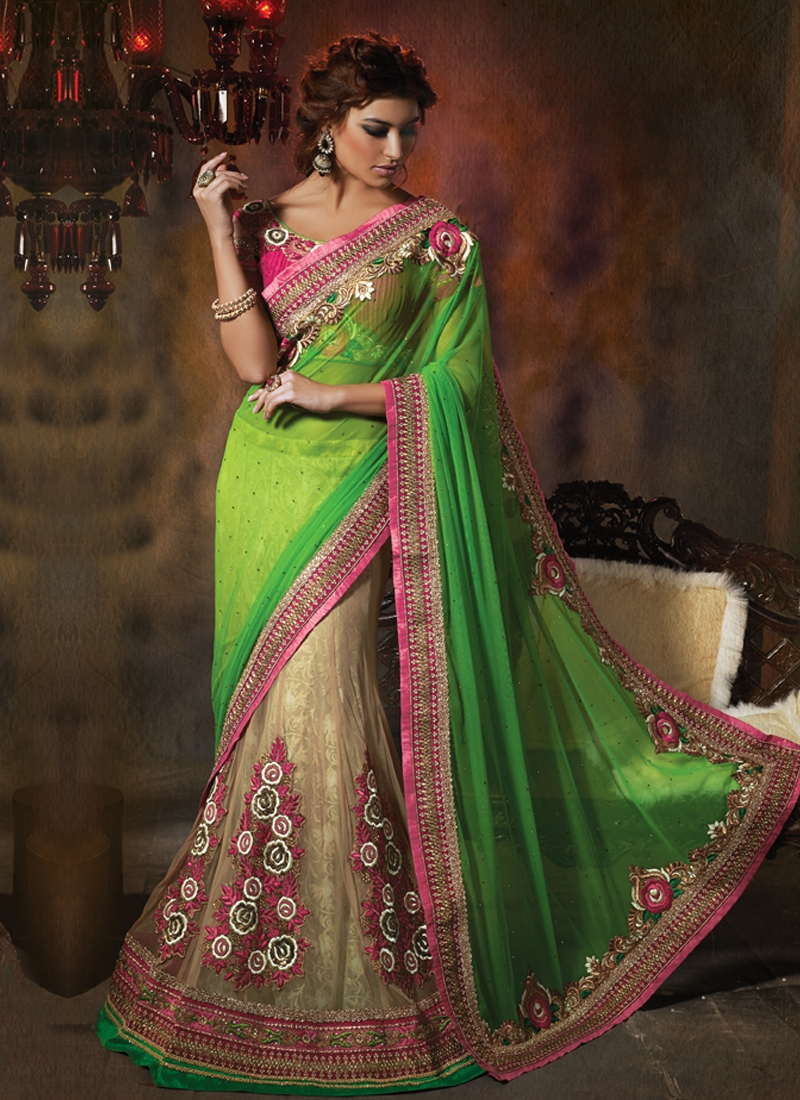 Invaluable Green And Cream Color Net Lehenga Saree