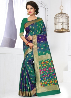 Invaluable Green and Navy Blue Traditional Saree