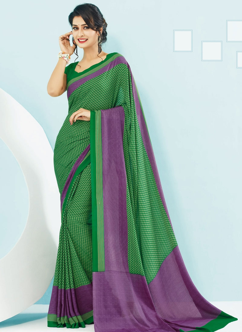 Invaluable Green And Purple Color Casual Saree