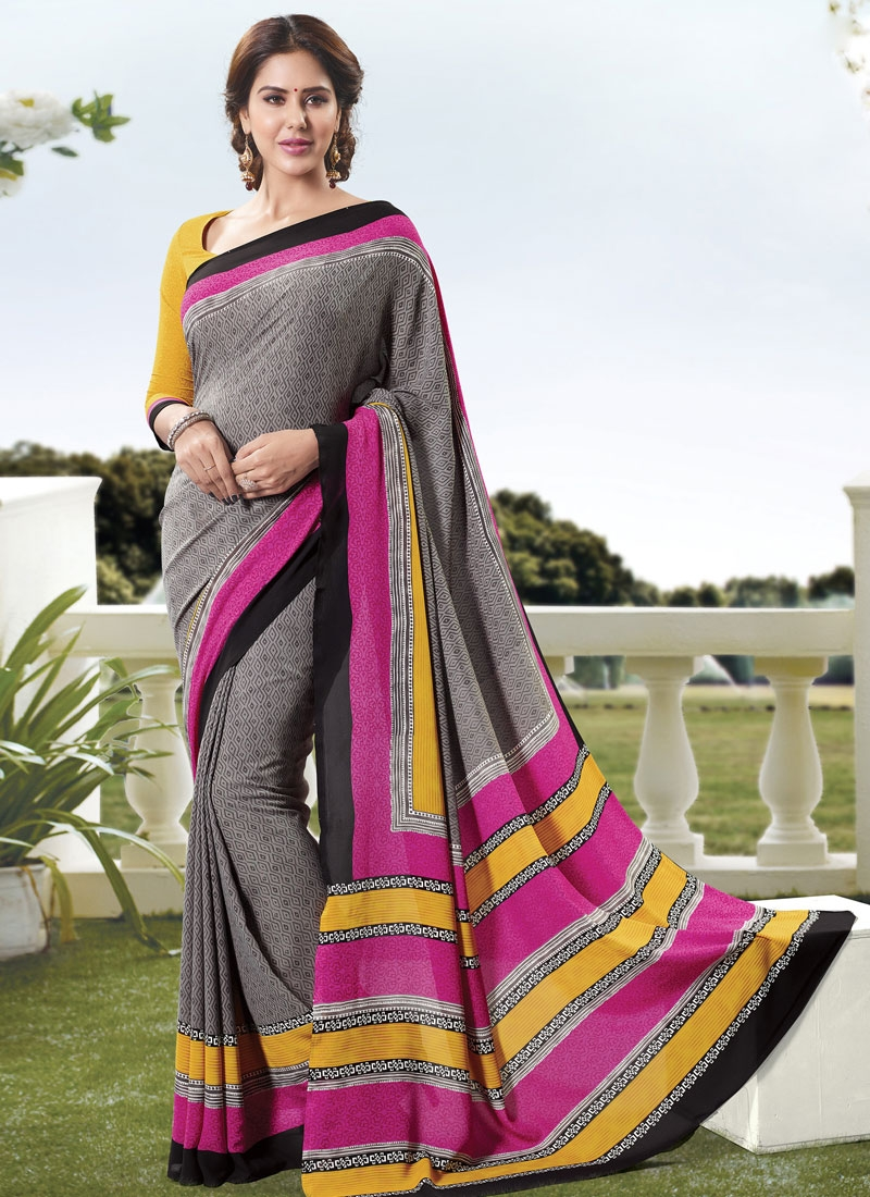 Invaluable Grey Color Printed Casual Saree