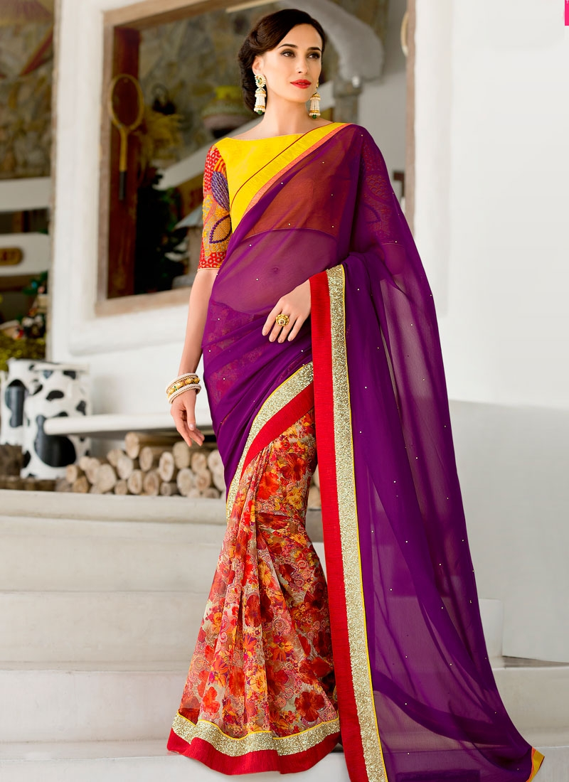 Invaluable Lace Work Purple Color Half N Half Party Wear Saree