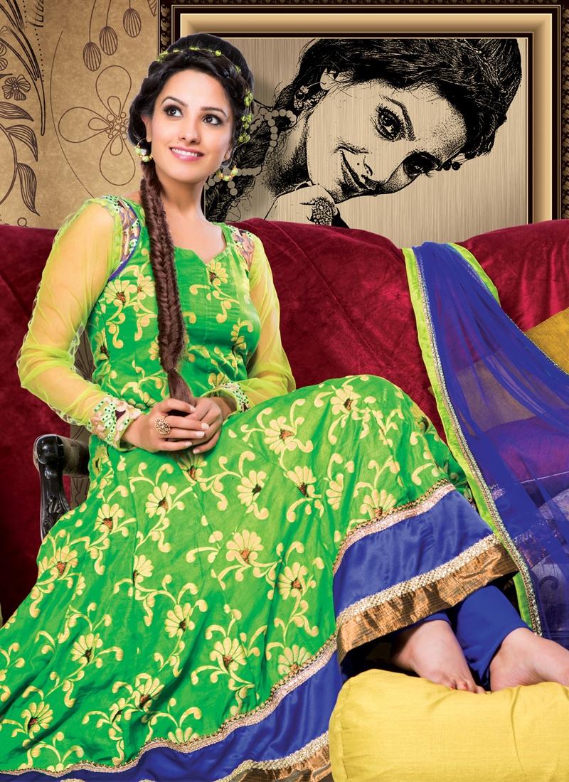 Invaluable Net And Georgette Anarkali Salwar Suit