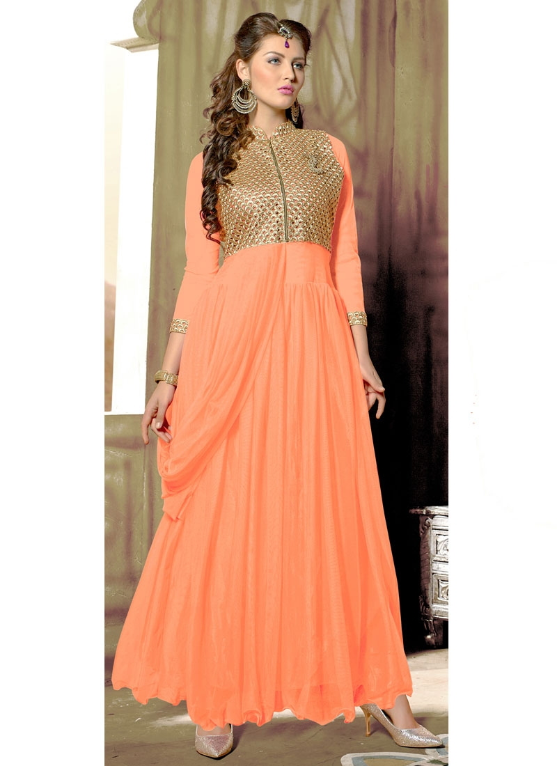 Invaluable Net Resham Work Party Wear Readymade Gown