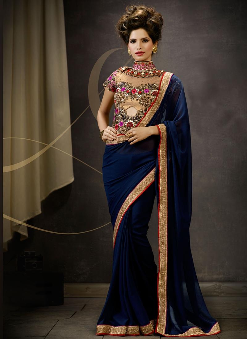 Invaluable Resham Work Navy Blue Color Designer Saree