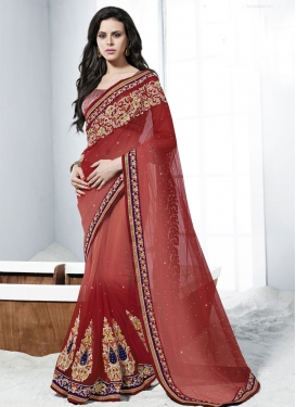 Invaluable Resham Work Net Wedding Saree