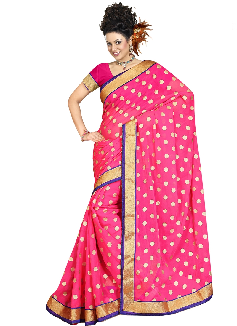 Invaluable Rose Pink Color Polka Dotted Casual Saree