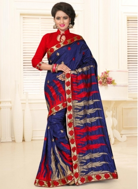 Invaluable Silk Lace Work Contemporary Style Saree For Ceremonial