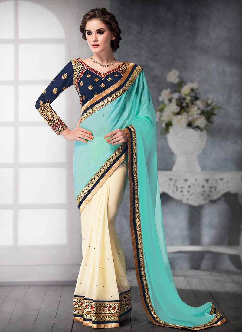 Invaluable Stone Work Aqua Blue Color Half N Half Designer Saree