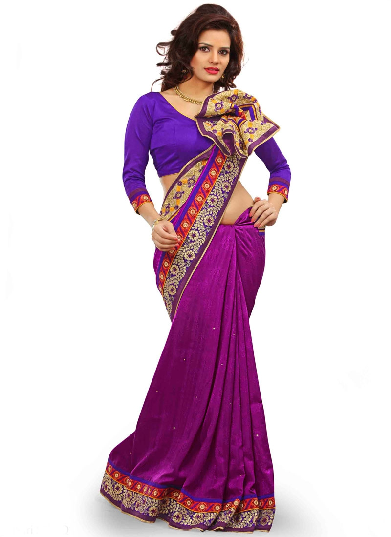 Invaluable Stone Work Purple Color Party Wear Saree