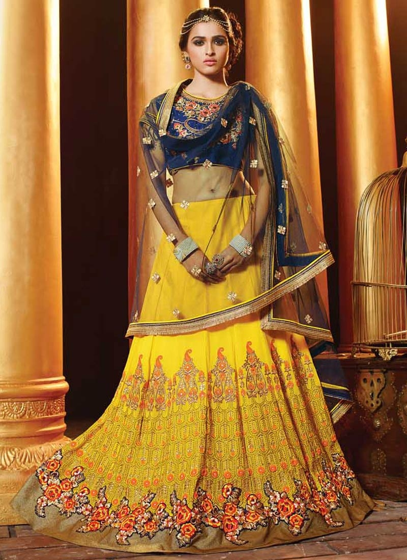 Invaluable Yellow Color Floral Work Wedding Lehenga Choli