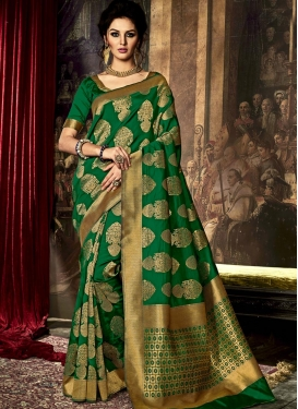 Invigorating Art Raw Silk Resham Work Trendy Classic Saree