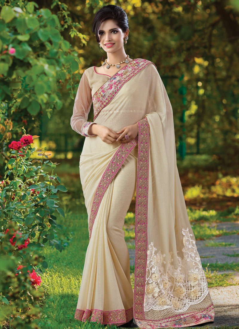 Invigorating Beads And Lace Work Designer Saree