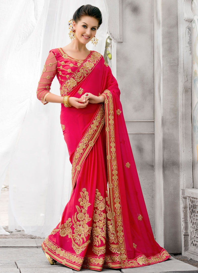 Invigorating Booti And Beads Work Wedding Saree