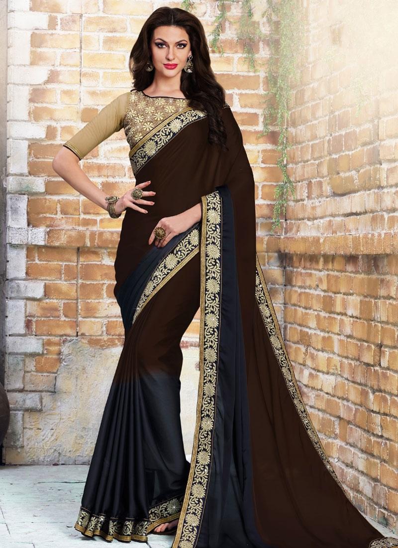 Invigorating Coffee Brown Color Satin Party Wear Saree