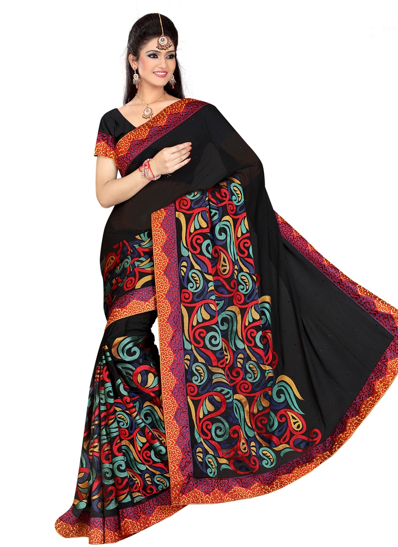 Invigorating Embroidery Work Designer Saree