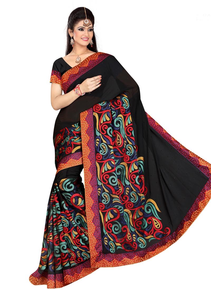 Invigorating Embroidery Work Designer Saree