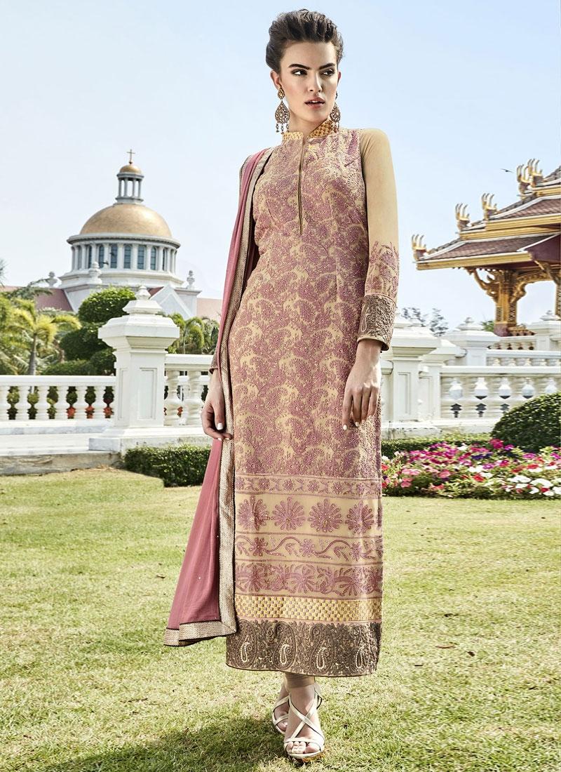 Invigorating Embroidery Work Long Length Pakistani Suit
