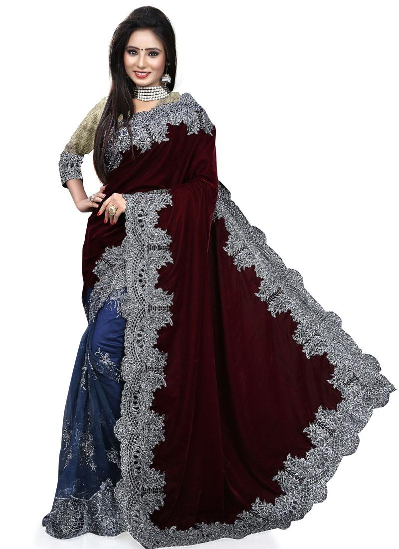 Invigorating Embroidery Work Net Half N Half Bridal Saree