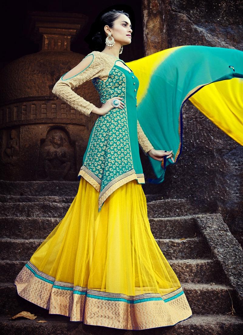 Invigorating Faux Chiffon And Net Kameez Style Designer Lehenga Choli