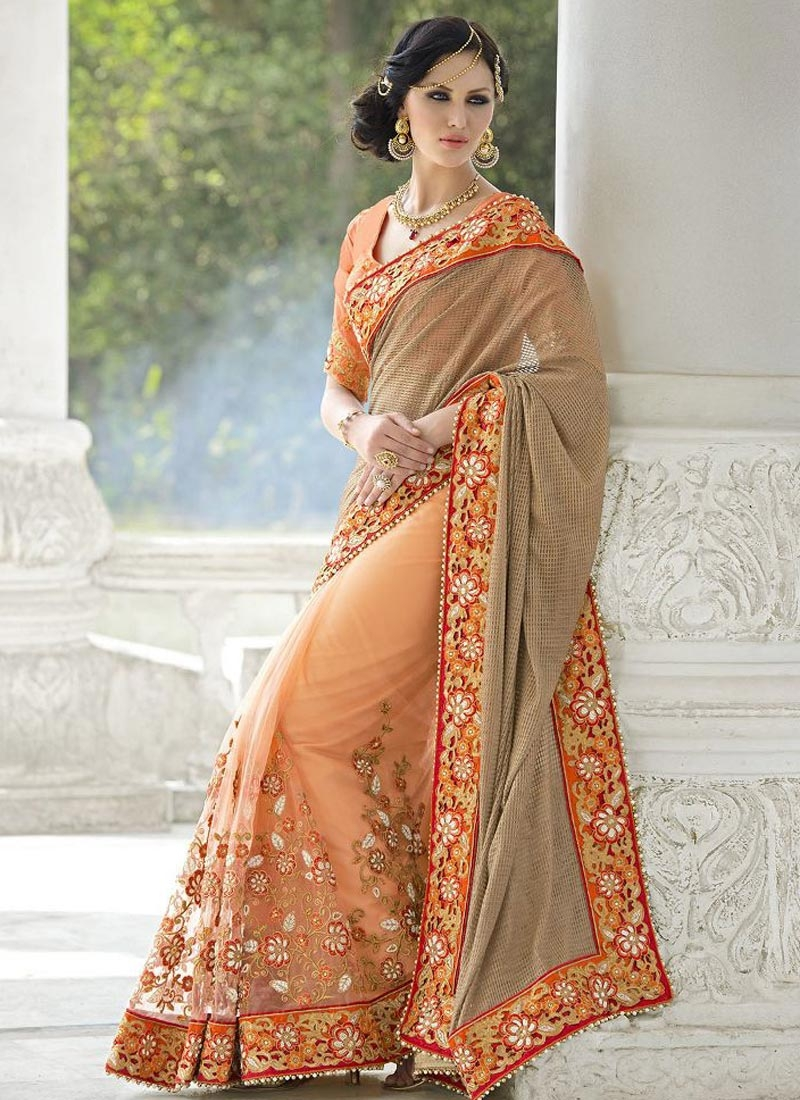 Invigorating Floral And Lace Work Half N Half Bridal Saree