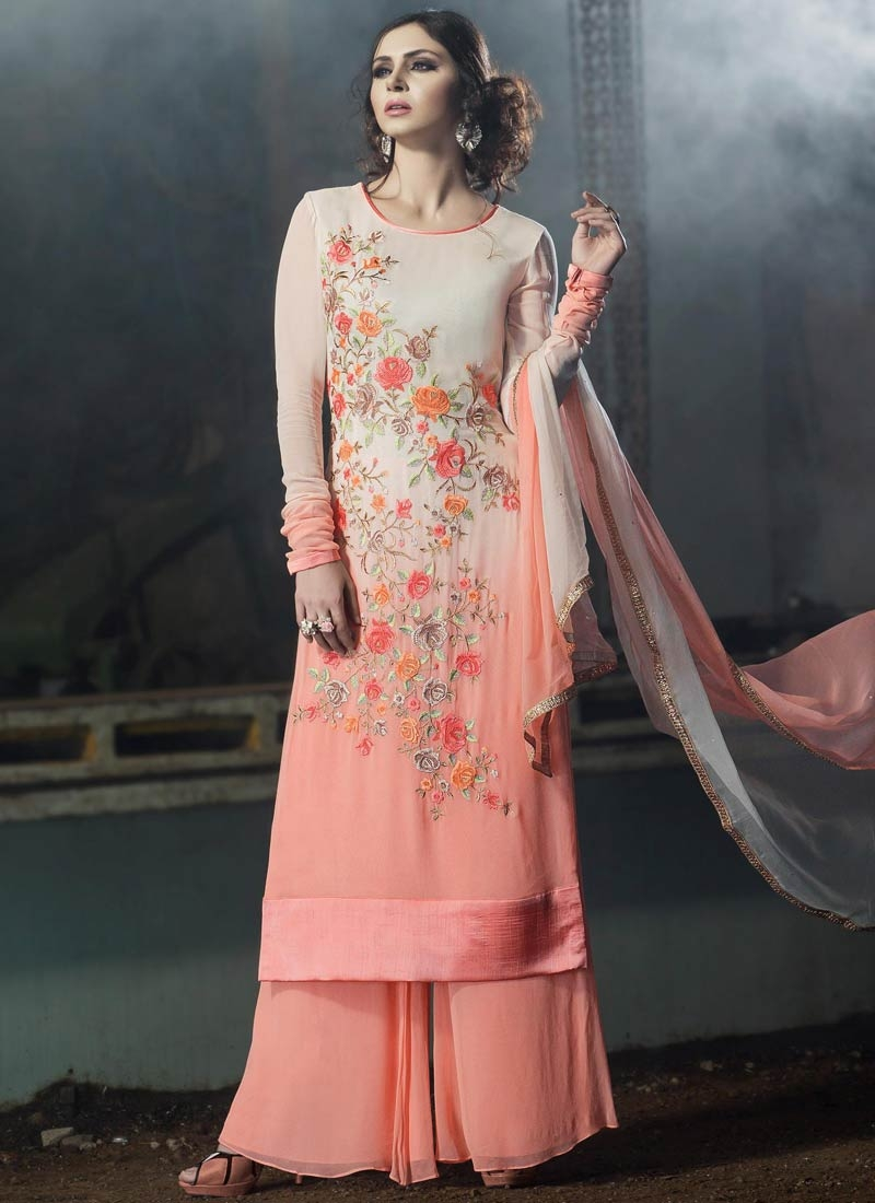 Invigorating Floral Work Palazzo Style Designer Suit