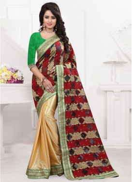 Invigorating Jacquard And Lycra Half N Half Party Wear Saree