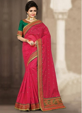 Invigorating Lace Work Chanderi Silk Trendy Classic Saree For Festival