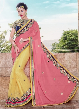 Invigorating Lace Work Half N Half Wedding Saree