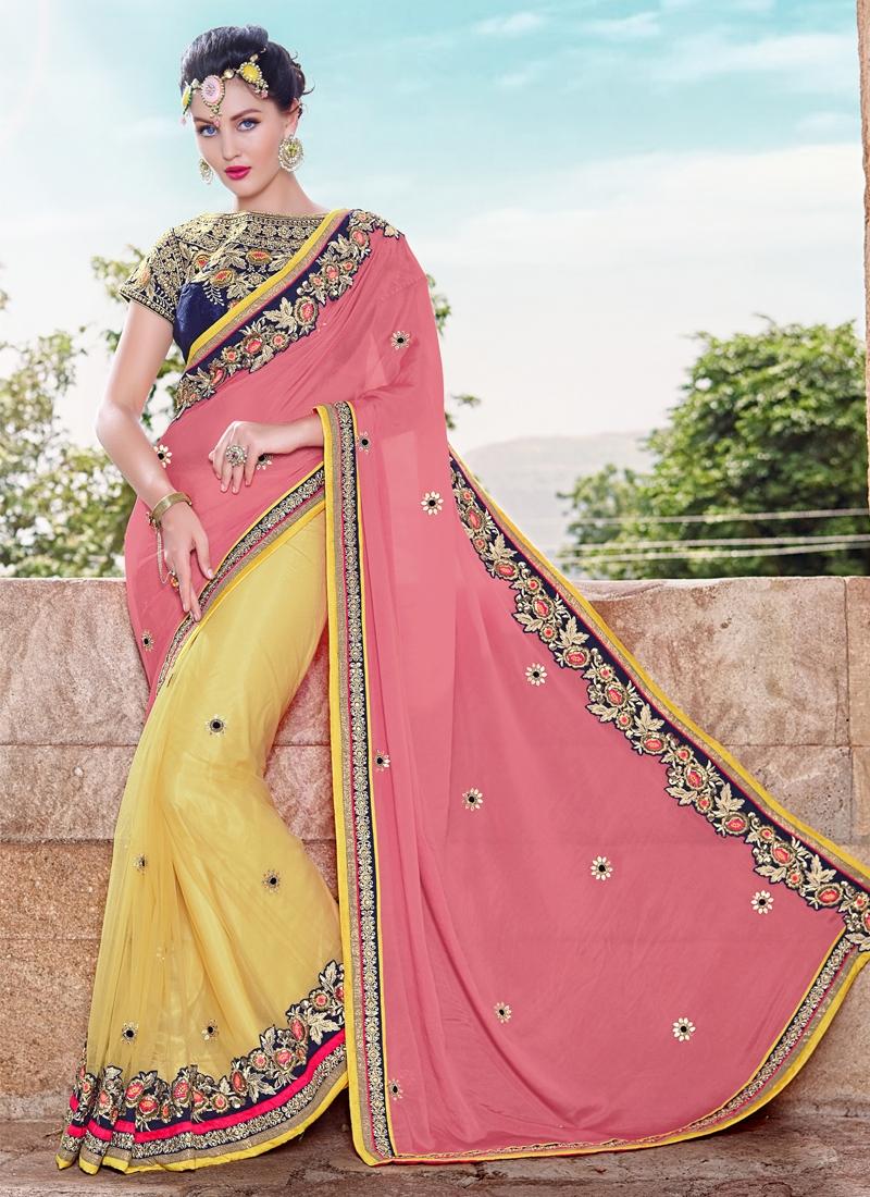 Invigorating Lace Work Half N Half Wedding Saree