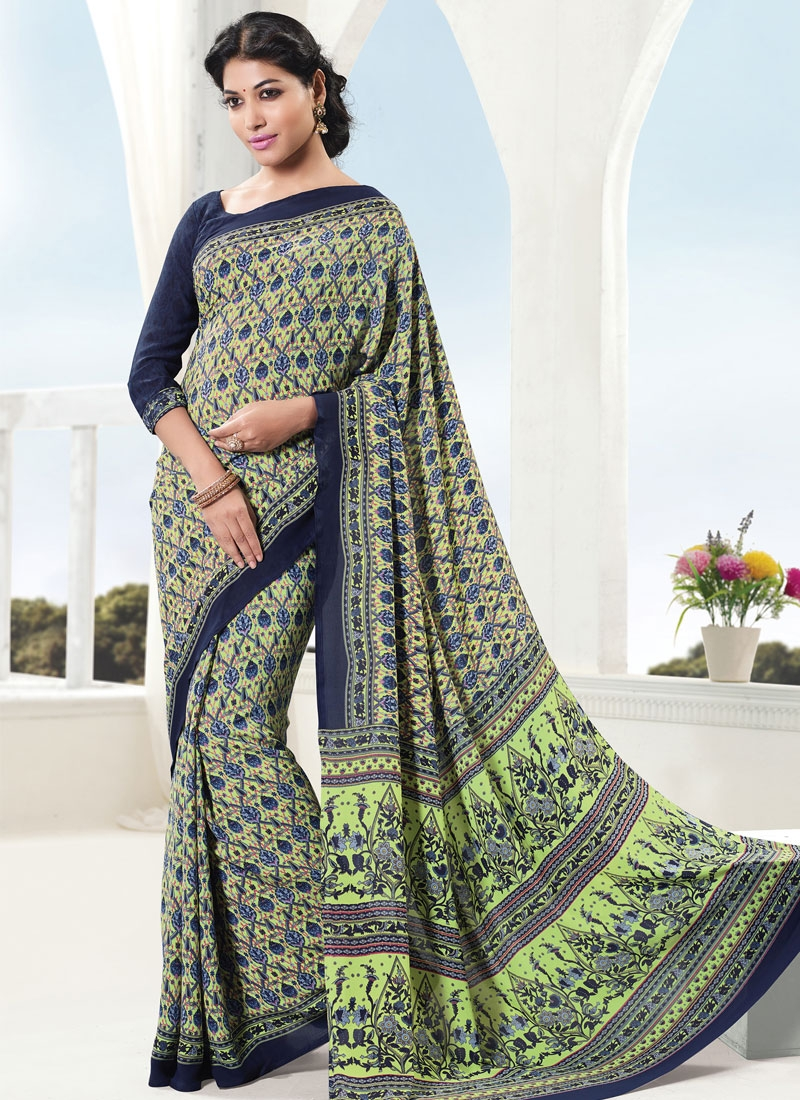 Invigorating Mint Green Color Casual Saree