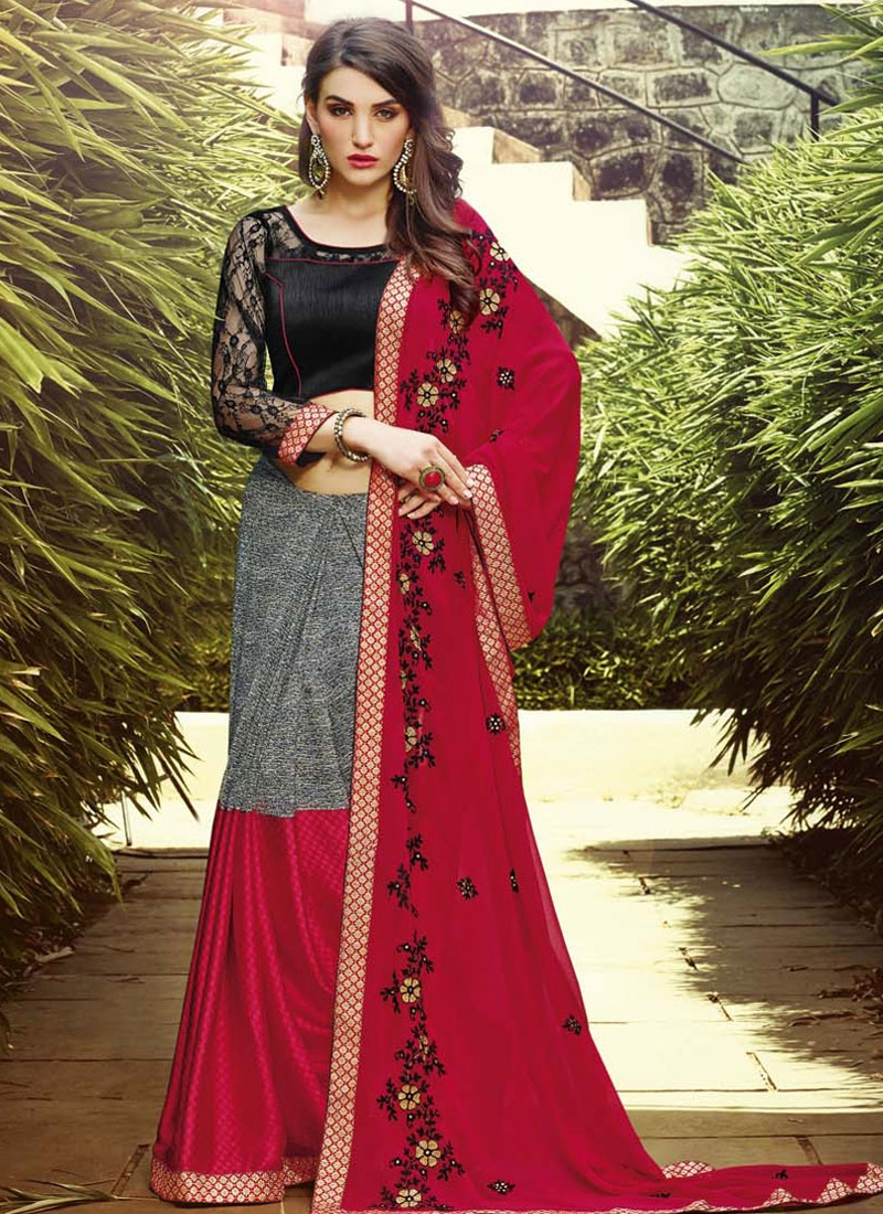 Invigorating Red Color Resham Work Casual Saree