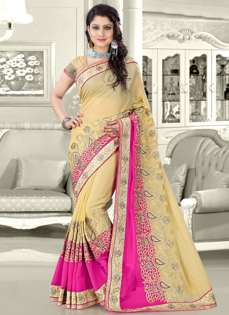 Invigorating Rose Pink And Cream Color Designer Saree