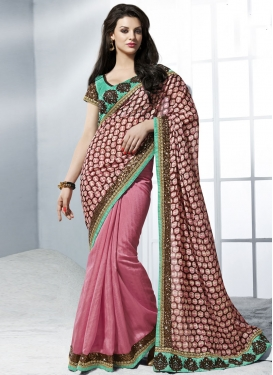 Invigorating Sequins Work Half N Half Wedding Saree