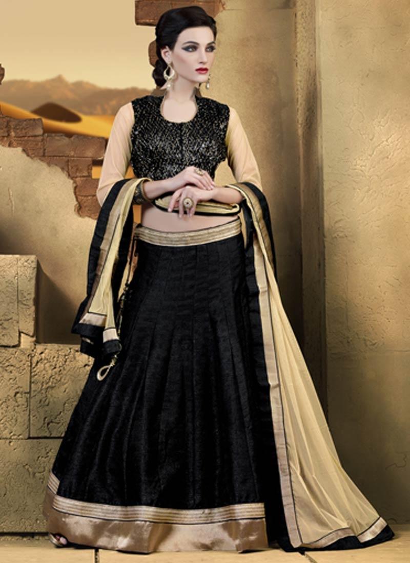 Irresistible Black Color Lace Work Party Wear Lehenga Choli