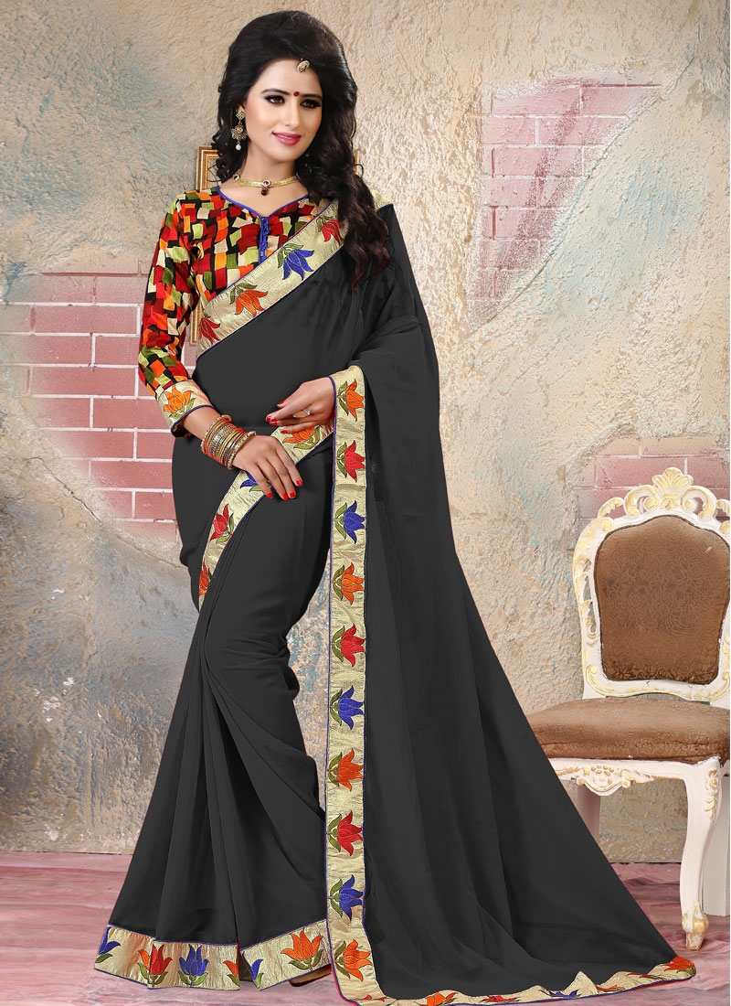 Irresistible Black Color Lace Work Party Wear Saree