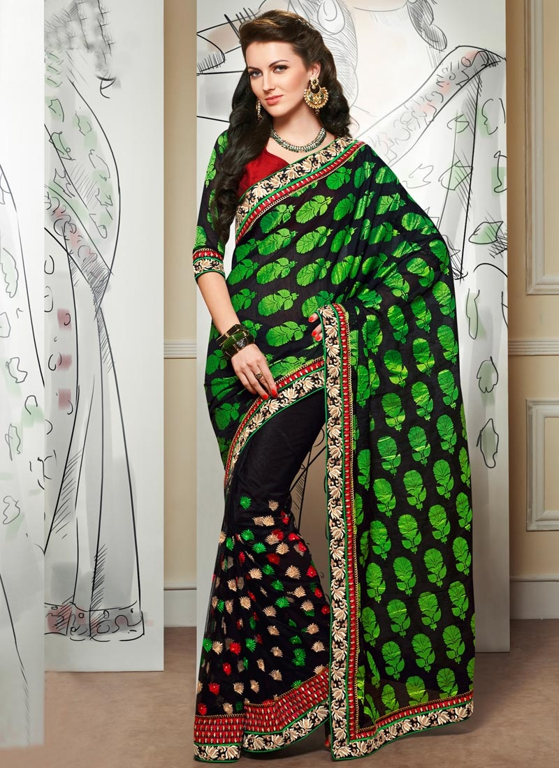 Irresistible Black Color Net Designer Saree