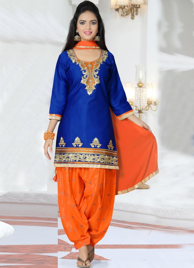 a3ce3599fc Irresistible Blue Color Patiala Style Punjabi Suit