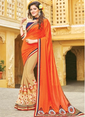 Irresistible  Booti Work Half N Half Trendy Saree For Festival