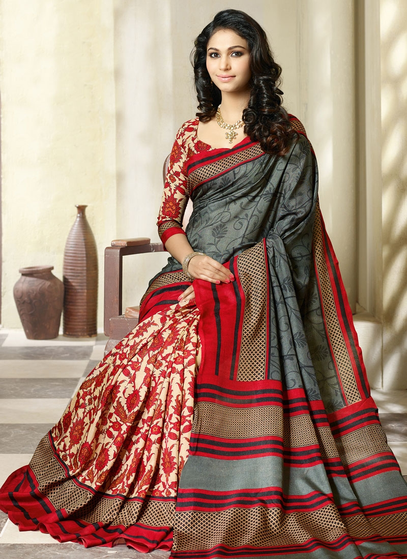 Irresistible Cream And Grey Color Art Silk Casual Saree