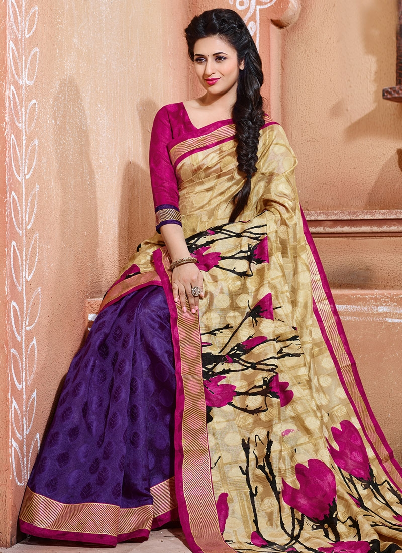 Irresistible Digital Print Work Half N Half Divyanka Tripathi Casual Saree