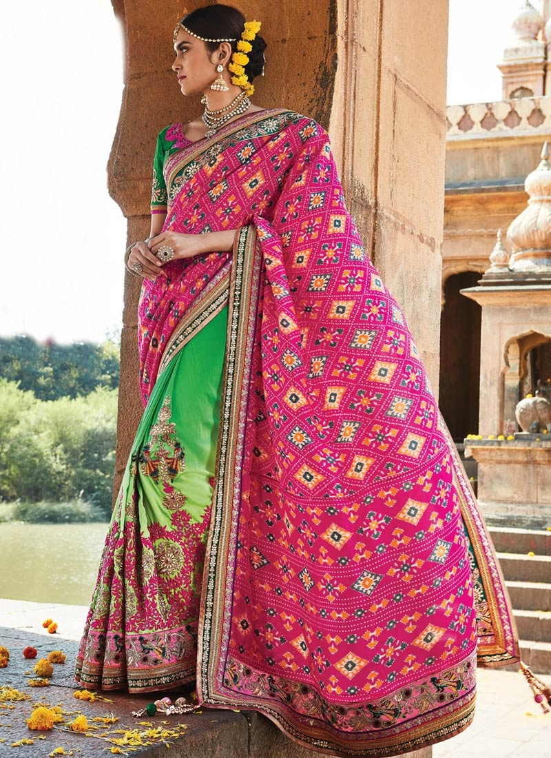 Irresistible Embroidery Work Silk Half N Half Bridal Saree