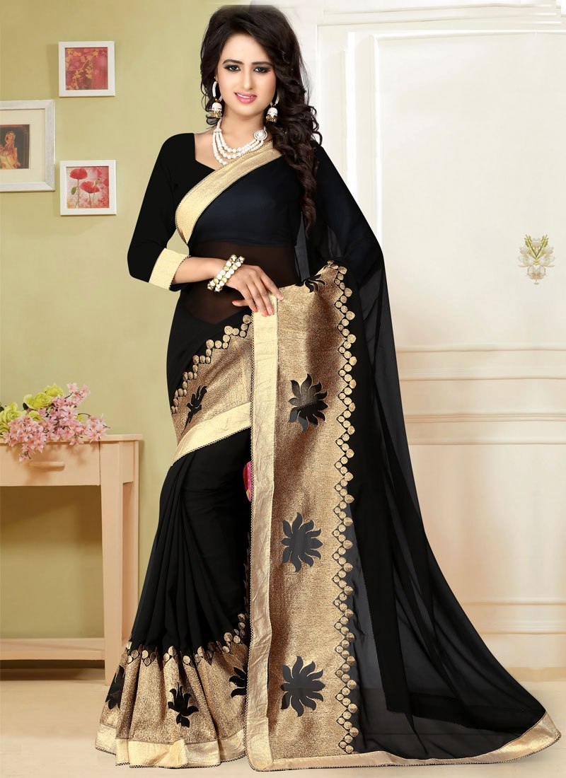 Irresistible Lace Work Black Color Party Wear Saree
