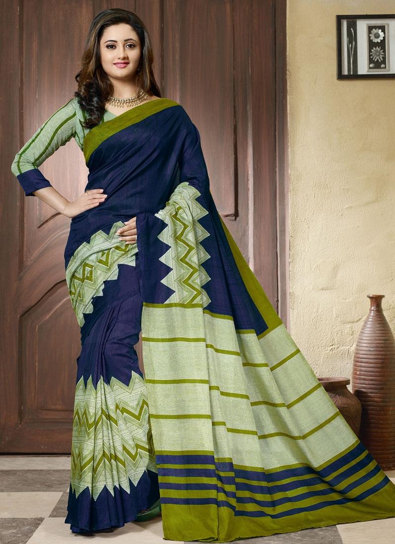 Irresistible Navy Blue And Olive Color Rashami Desai Casual Saree