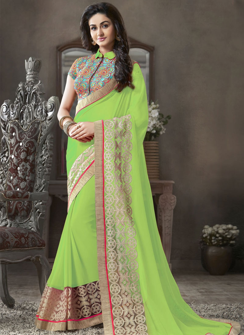 Irresistible Patch Work Georgette Party Wear Saree