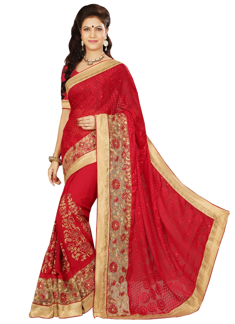 Irresistible Red Color Booti Work Designer Saree