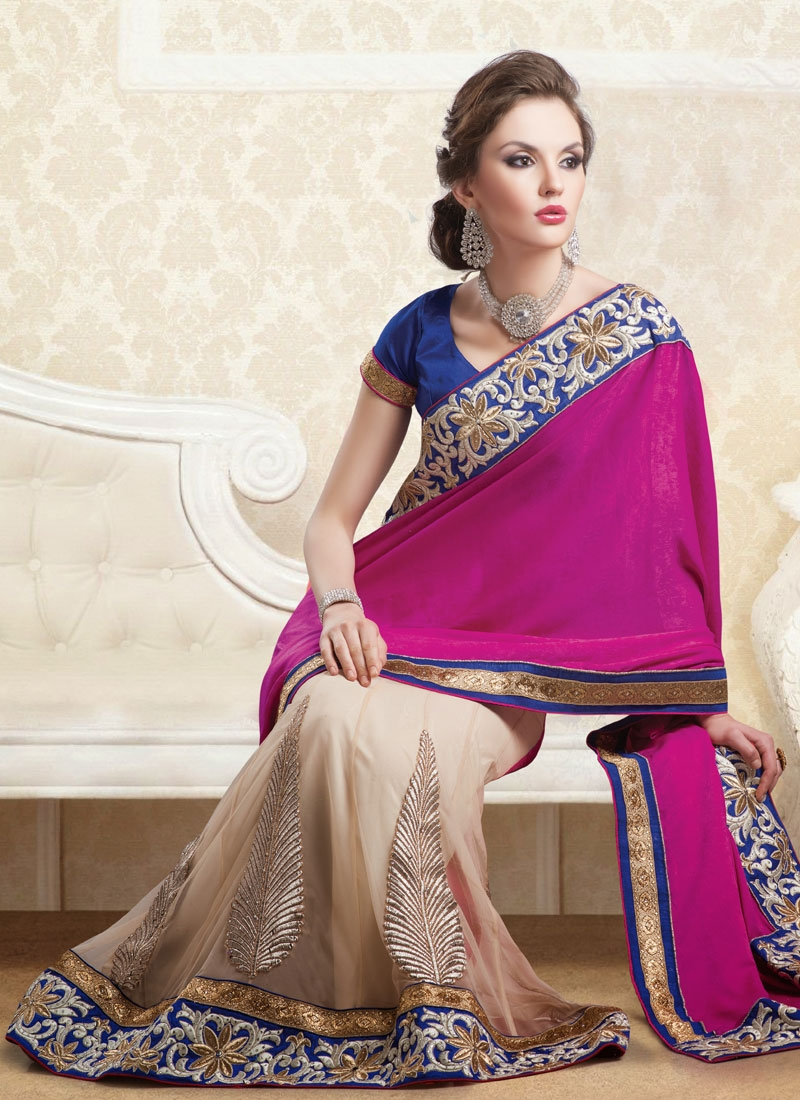Irresistible Resham And Lace Enhanced Lehenga Saree
