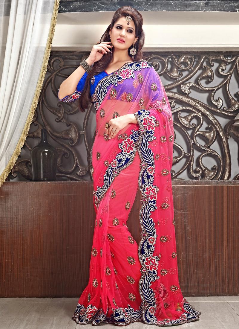 Irresistible Resham And Stone Work Wedding Saree