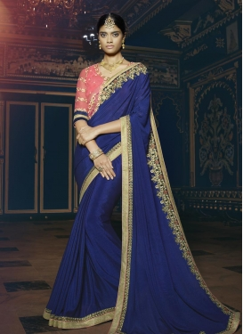 Irresistible Silk Georgette Embroidered Work Classic Saree